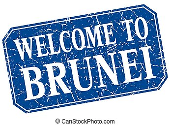 welcome to Brunei blue square grunge stamp