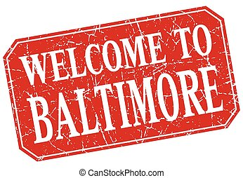 welcome to Baltimore red square grunge stamp
