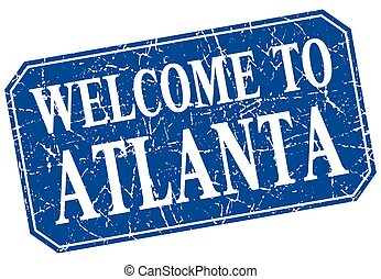 welcome to Atlanta blue square grunge stamp