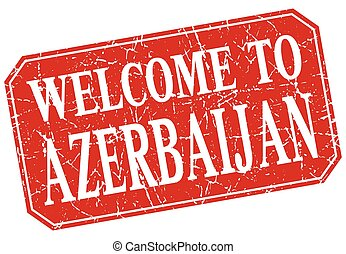 welcome to Azerbaijan red square grunge stamp