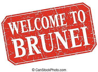 welcome to Brunei red square grunge stamp