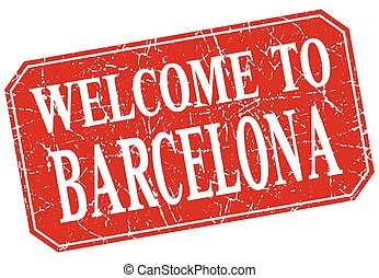 welcome to Barcelona red square grunge stamp