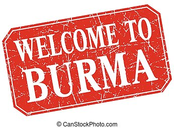 welcome to Burma red square grunge stamp