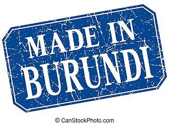 made in Burundi blue square grunge stamp