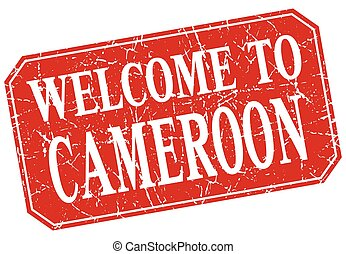 welcome to Cameroon red square grunge stamp