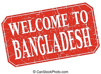 welcome to Bangladesh red square grunge stamp