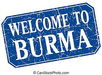 welcome to Burma blue square grunge stamp
