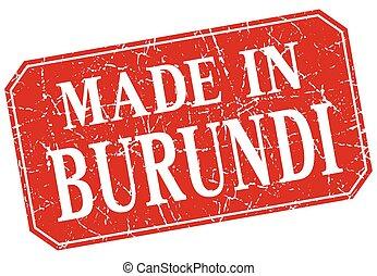 made in Burundi red square grunge stamp