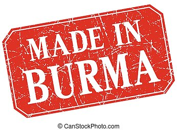made in Burma red square grunge stamp