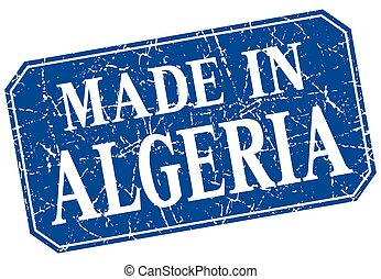 made in Algeria blue square grunge stamp