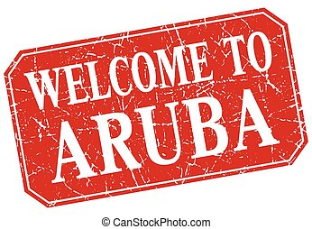 welcome to Aruba red square grunge stamp
