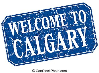 welcome to Calgary blue square grunge stamp