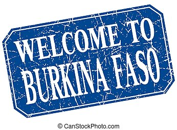 welcome to Burkina Faso blue square grunge stamp