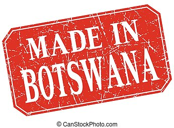 made in Botswana red square grunge stamp