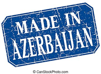 made in Azerbaijan blue square grunge stamp