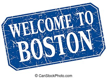 welcome to Boston blue square grunge stamp