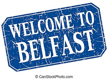 welcome to Belfast blue square grunge stamp