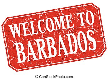 welcome to Barbados red square grunge stamp