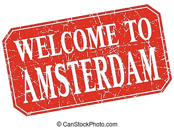 welcome to Amsterdam red square grunge stamp