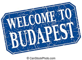 welcome to Budapest blue square grunge stamp