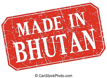 made in Bhutan red square grunge stamp