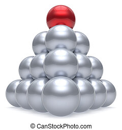 Pyramid leader sphere ball hierarchy corporation red top order