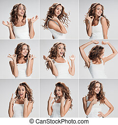 Set of young woman's portraits with different happy emotions...