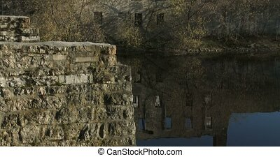Ruins of old bridge and factory in Elora, Ontario, Canada....