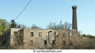 Ruins of old factory in Elora, Ontario, Canada. Elora is a...