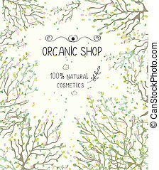 Organic shop template for natural products - illlustration -...