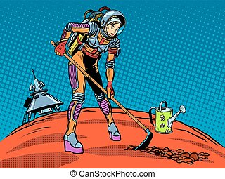Girl astronaut ecology plant care planet pop art retro style...