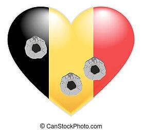 Coração, bandeira, Bélgica, belga