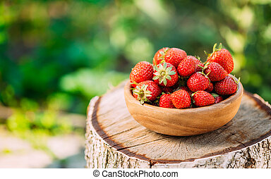 Organic Strawberries Ripe Strawberry In Fruit Garden, Old...