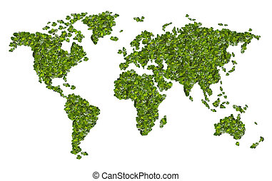 World map from the green grass Isolated on white