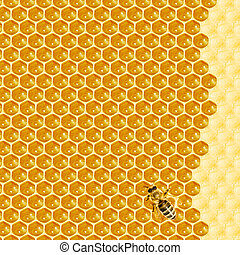 Macro of working bee on honeycells. - Close up view of the...