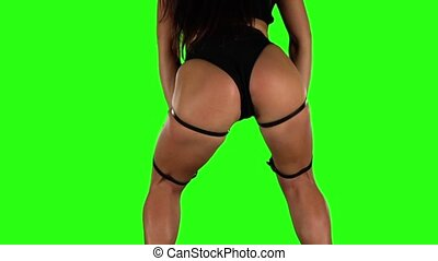 Professional dancer actively moving Green Slow motion - Very...