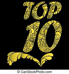 Top ten isolated vector text - Top 10 word isolated on black...