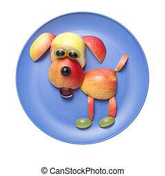 feliz, perro, hecho, de, frutas, en, azul, placa,