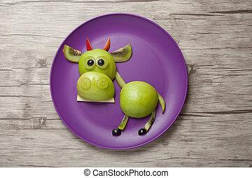 divertido, toro, hecho, de, fresco, vegetales, en, de...