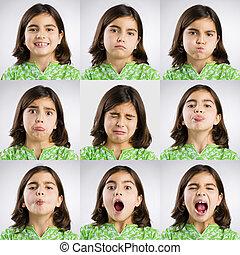Nine moods - Multiple portraits of the same little girl...