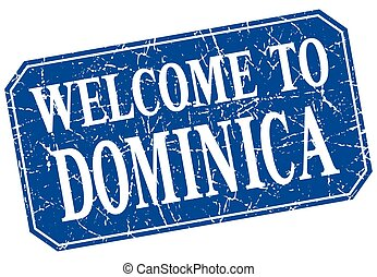 welcome to Dominica blue square grunge stamp