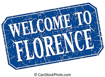 welcome to Florence blue square grunge stamp