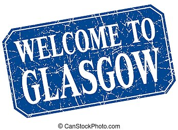 welcome to Glasgow blue square grunge stamp
