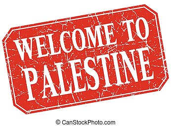 welcome to Palestine red square grunge stamp