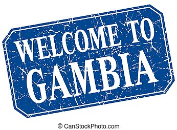 welcome to Gambia blue square grunge stamp