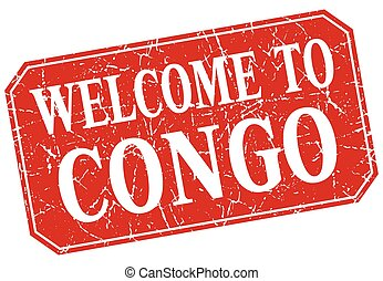 welcome to Congo red square grunge stamp