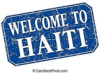 welcome to Haiti blue square grunge stamp