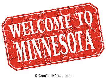 welcome to Minnesota red square grunge stamp