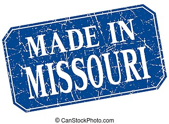 made in Missouri blue square grunge stamp