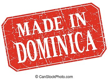 made in Dominica red square grunge stamp